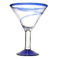 Blue Rim Martini With Swirl