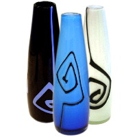Billow Vase: Black With Blue